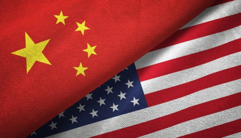China and United States of America flags